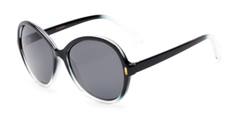 Angle of Piper #3869 in Black/Clear Frame with Grey Lenses, Women's Round Sunglasses