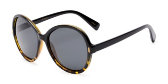 Angle of Piper #3869 in Black/Tortoise Frame with Grey Lenses, Women's Round Sunglasses