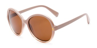 Angle of Piper #3869 in Light Pink/Clear Frame with Amber Lenses, Women's Round Sunglasses