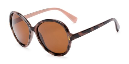 Angle of Piper #3869 in Tortoise Frame with Amber Lenses, Women's Round Sunglasses
