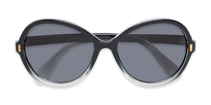 Folded of Piper #3869 in Black/Clear Frame with Grey Lenses