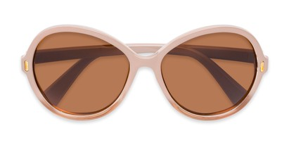 Folded of Piper #3869 in Light Pink/Clear Frame with Amber Lenses