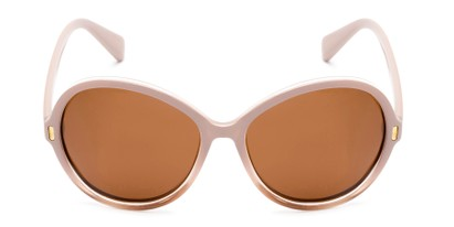 Front of Piper #3869 in Light Pink/Clear Frame with Amber Lenses