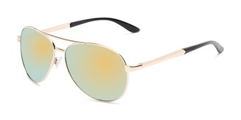 Angle of Piston #6308 in Gold/Black Frame with Yellow/Blue Mirrored Lenses, Women's and Men's Aviator Sunglasses