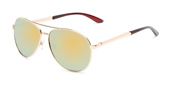 Angle of Piston #6308 in Gold/Brown Frame with Yellow/Blue Mirrored Lenses, Women's and Men's Aviator Sunglasses