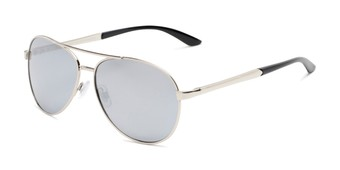 Angle of Piston #6308 in Silver/Black Frame with Silver Mirrored Lenses, Women's and Men's Aviator Sunglasses