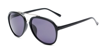 Angle of Port #3994 in Matte Black/Gold Frame with Silver Mirrored Lenses, Men's Aviator Sunglasses