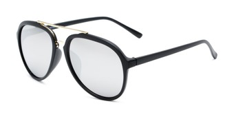 Angle of Port in Matte Black/Gold Frame with Silver Mirrored Lenses, Men's Aviator Sunglasses