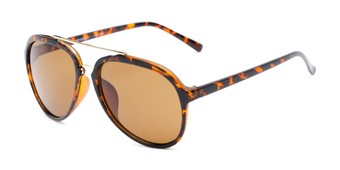Angle of Port #3994 in Tortoise/Gold Frame with Amber Lenses, Men's Aviator Sunglasses