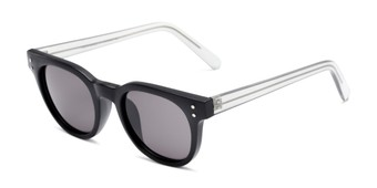 Angle of Porter #32074 in Black Frame with Grey Lenses, Women's and Men's Retro Square Sunglasses