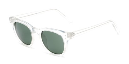 Angle of Porter in Clear Frame with Green Lenses, Women's and Men's Retro Square Sunglasses