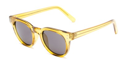 Angle of Porter in Clear Yellow Frame with Grey Lenses, Women's and Men's Retro Square Sunglasses