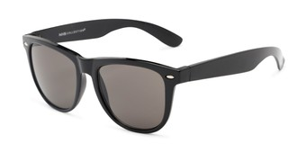Angle of Portland #1108 in Black Frame with Grey Lenses, Women's and Men's Retro Square Sunglasses