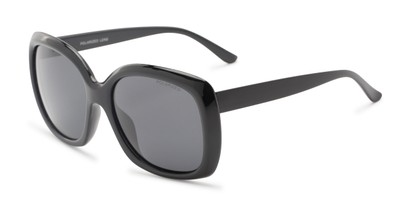 Angle of Portugal #1015 in Black Frame with Smoke Lenses, Women's Square Sunglasses