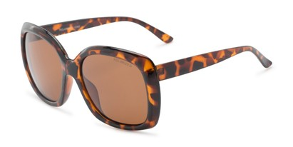 Angle of Portugal #1015 in Dark Tortoise Frame with Amber Lenses, Women's Square Sunglasses