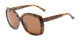 Angle of Portugal #1015 in Light Tortoise Frame with Amber Lenses, Women's Square Sunglasses