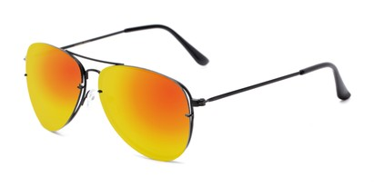 Angle of Poseidon #2176 in Black Frame with Orange Mirrored Lenses, Women's and Men's Aviator Sunglasses