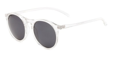 Angle of Potrero #16030 in Glossy Clear Frame with Grey Lenses, Women's and Men's Round Sunglasses