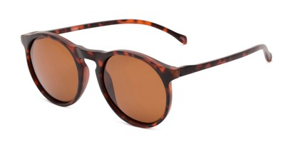 Angle of Potrero #16030 in Matte Dark Tortoise Frame with Amber Lenses, Women's and Men's Round Sunglasses