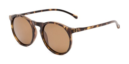 Angle of Potrero #16030 in Matte Light Tortoise Frame with Amber Lenses, Women's and Men's Round Sunglasses