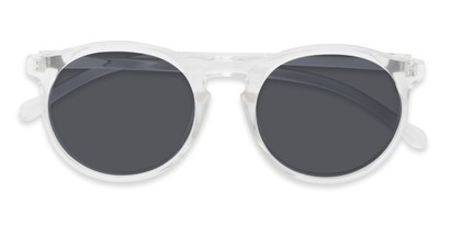 Folded of Potrero #16030 in Glossy Clear Frame with Grey Lenses