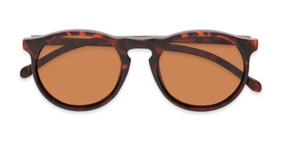 Folded of Potrero #16030 in Matte Dark Tortoise Frame with Amber Lenses