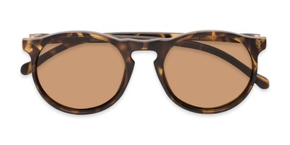 Folded of Potrero #16030 in Matte Light Tortoise Frame with Amber Lenses