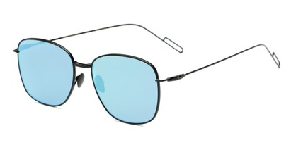 Angle of Presley #2019 in Black Frame with Ice Blue Lenses, Women's Square Sunglasses