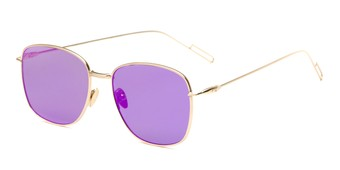 Angle of Presley #2019 in Gold Frame with Violet Purple Lenses, Women's Square Sunglasses