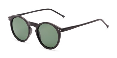 Angle of Preston #9727 in Matte Black Frame with Green Lenses, Women's and Men's Round Sunglasses