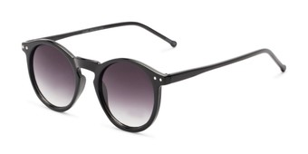Angle of Preston #9727 in Glossy Black Frame with Smoke Lenses, Women's and Men's Round Sunglasses