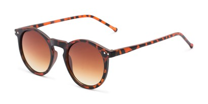 Angle of Preston #9727 in Matte Tortoise Frame with Amber Faded Lenses, Women's and Men's Round Sunglasses