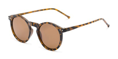 Angle of Preston #9727 in Glossy Tortoise Frame with Amber Lenses, Women's and Men's Round Sunglasses