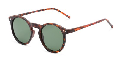 Angle of Preston #9727 in Matte Tortoise Frame with Green Lenses, Women's and Men's Round Sunglasses