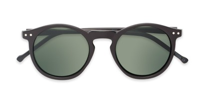 Folded of Preston #9727 in Matte Black Frame with Green Lenses