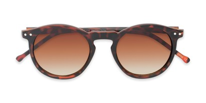 Folded of Preston #9727 in Matte Tortoise Frame with Amber Faded Lenses