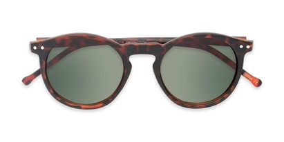 Folded of Preston #9727 in Matte Tortoise Frame with Green Lenses