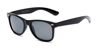 Angle of Rambler #1188 in Black Frame with Smoke Lenses, Women's and Men's Retro Square Sunglasses