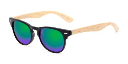 Angle of Rawlins #54090 in Black/Tan Frame with Green/Purple Mirrored Lenses, Women's and Men's Browline Sunglasses