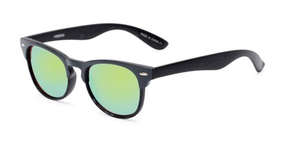 Angle of Rawlins #54090 in Grey/Black Frame with Green Mirrored Lenses, Women's and Men's Browline Sunglasses