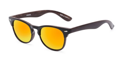 Angle of Rawlins #54090 in Black/Dark Brown Frame with Orange Mirrored Lenses, Women's and Men's Browline Sunglasses