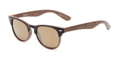 Angle of Rawlins #54090 in Brown/Light Brown Frame with Gold Mirrored Lenses, Women's and Men's Browline Sunglasses