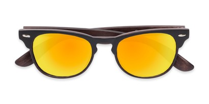 Folded of Rawlins #54090 in Black/Dark Brown Frame with Orange Mirrored Lenses