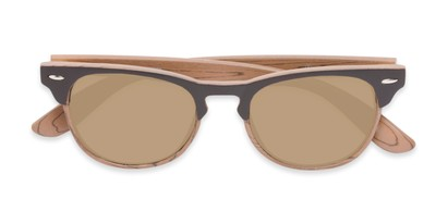 Folded of Rawlins #54090 in Brown/Light Brown Frame with Gold Mirrored Lenses