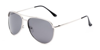 Angle of Remington #2179 in Glossy Silver Frame with Grey Lenses, Women's and Men's Aviator Sunglasses
