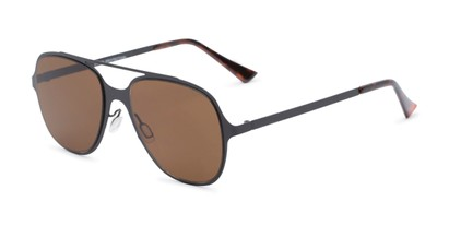 Angle of Rex #4378 in Black Frame with Amber Lenses, Women's and Men's Aviator Sunglasses