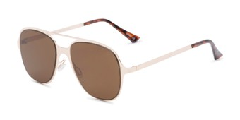 Angle of Rex #4378 in Gold Frame with Amber Lenses, Women's and Men's Aviator Sunglasses