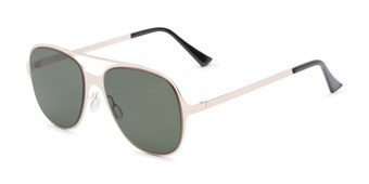 Angle of Rex #4378 in Gold Frame with Green Lenses, Women's and Men's Aviator Sunglasses