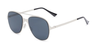 Angle of Rex #4378 in Silver Frame with Grey Lenses, Women's and Men's Aviator Sunglasses