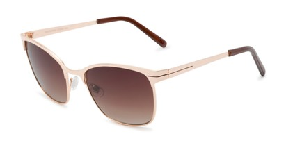 Angle of Riley #2300 in Gold Frame with Amber Lenses, Women's and Men's Browline Sunglasses
